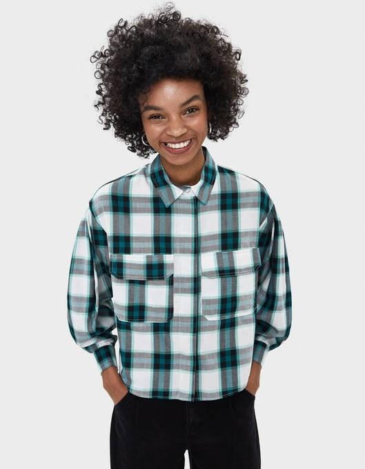 شومیز برشکا با کد 5878/168/527 ( Oversized check shirt )   شومیز زنانه برشکا