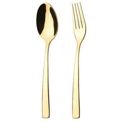 تصویر سرویس 24 پارچه قاشق و چنگال غذا خوری ناب استیل مدل فلورانس (طلایی)