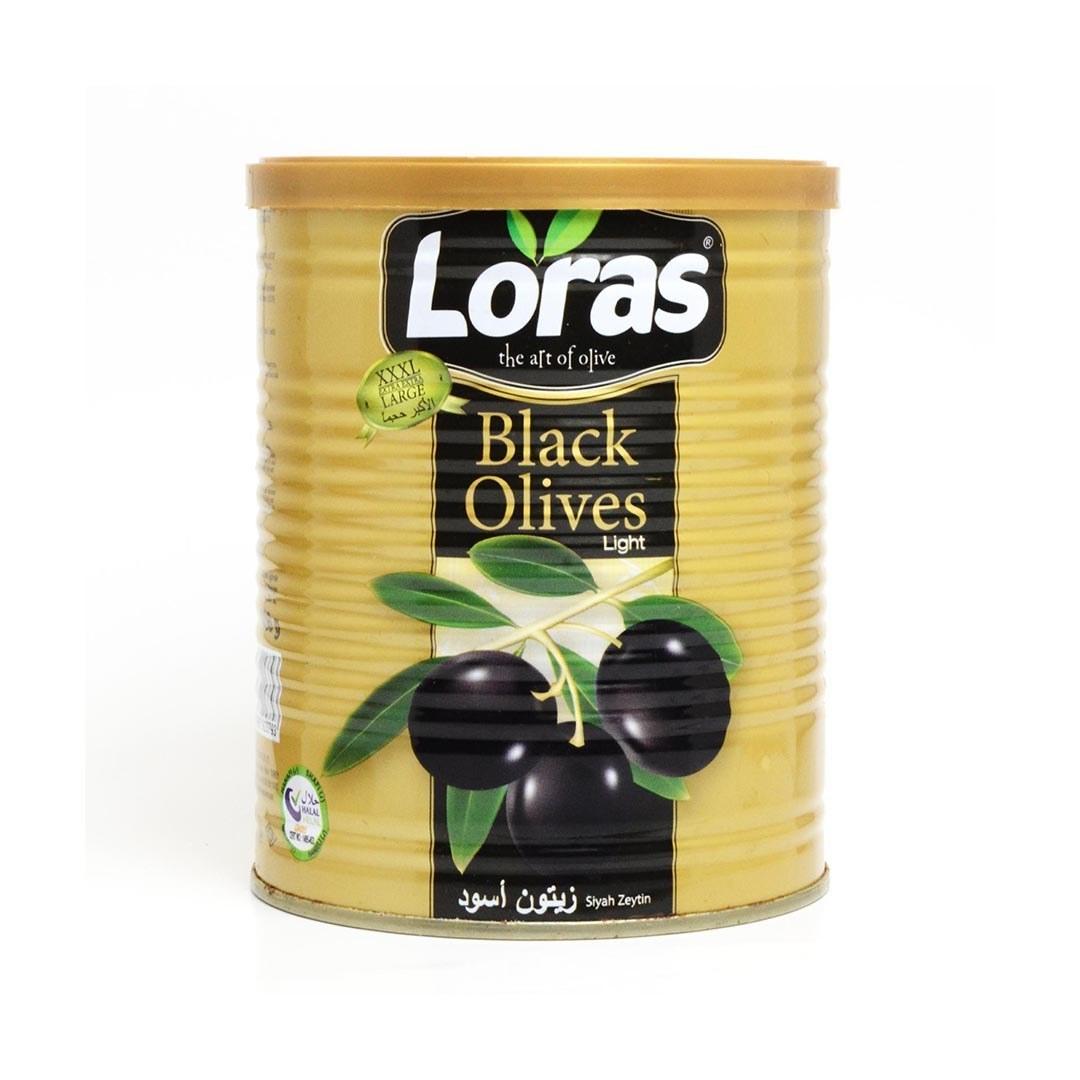 تصویر زیتون سیاه لوراس قوطی 800 گرمی  loras