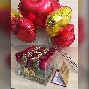 تصویر بادکنک فویل قلب قرمز،مشکی و طلایی با گاز هلیوم
