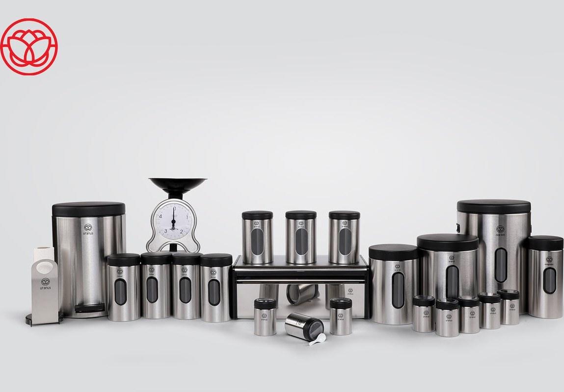 تصویر سرویس آشپزخانه اورانوس 23 پارچه استیل خشدار مشکی سنباده ای