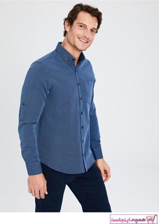 تصویر پیراهن کلاسیک فانتزی برند ال سی وایکیکی رنگ آبی کد ty32920606