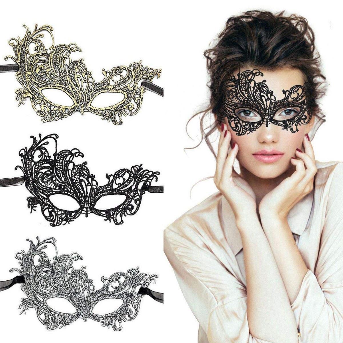 تصویر نقاب بالماسکه گیپور پتینه طلایی و نقره ای