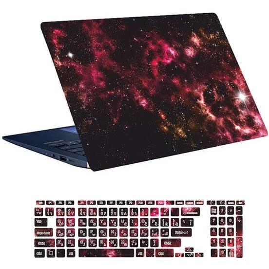 تصویر اسکین لپ تاپ طرح Space کد ۱۱۴ به همراه استیکر کیبورد