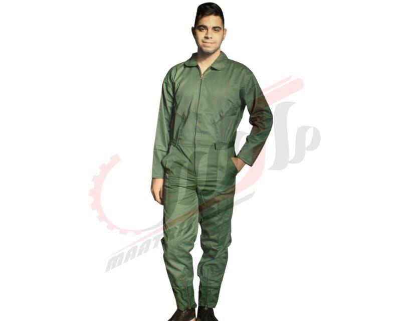 تصویر لباس کار یکسره سبز خلبانی