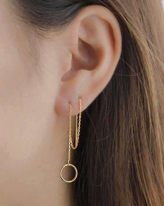 گوشواره بخیه طلا مدل دایره