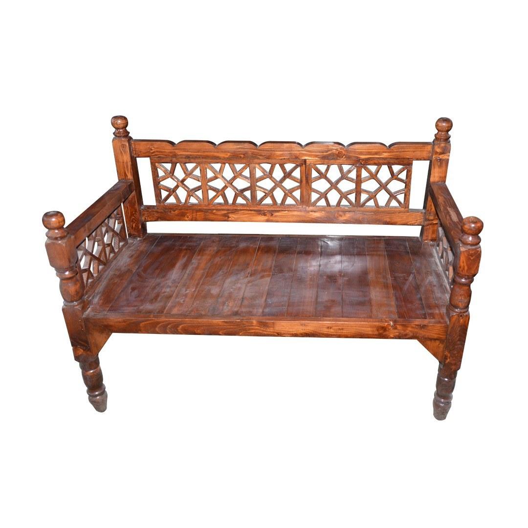 تصویر تخت سنتی چوبی دو نفره چوب نو