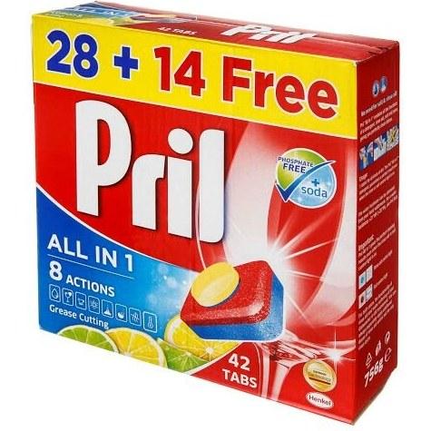 قرص ماشین ظرفشویی پریل مدل All In One بسته 42 عددی