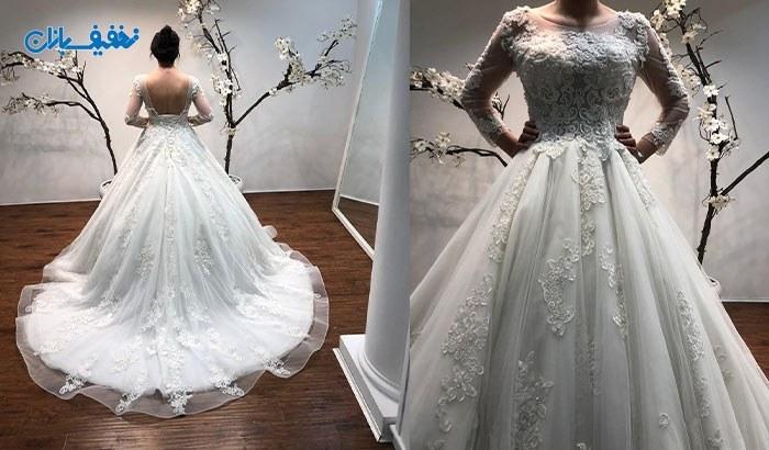 خرید لباس عروس یقه گرد دنباله دار مدل آرتمیس با ارزان ترین قیمت در مزون خانه سفید (White House) با ۵۰% تخفیف و |