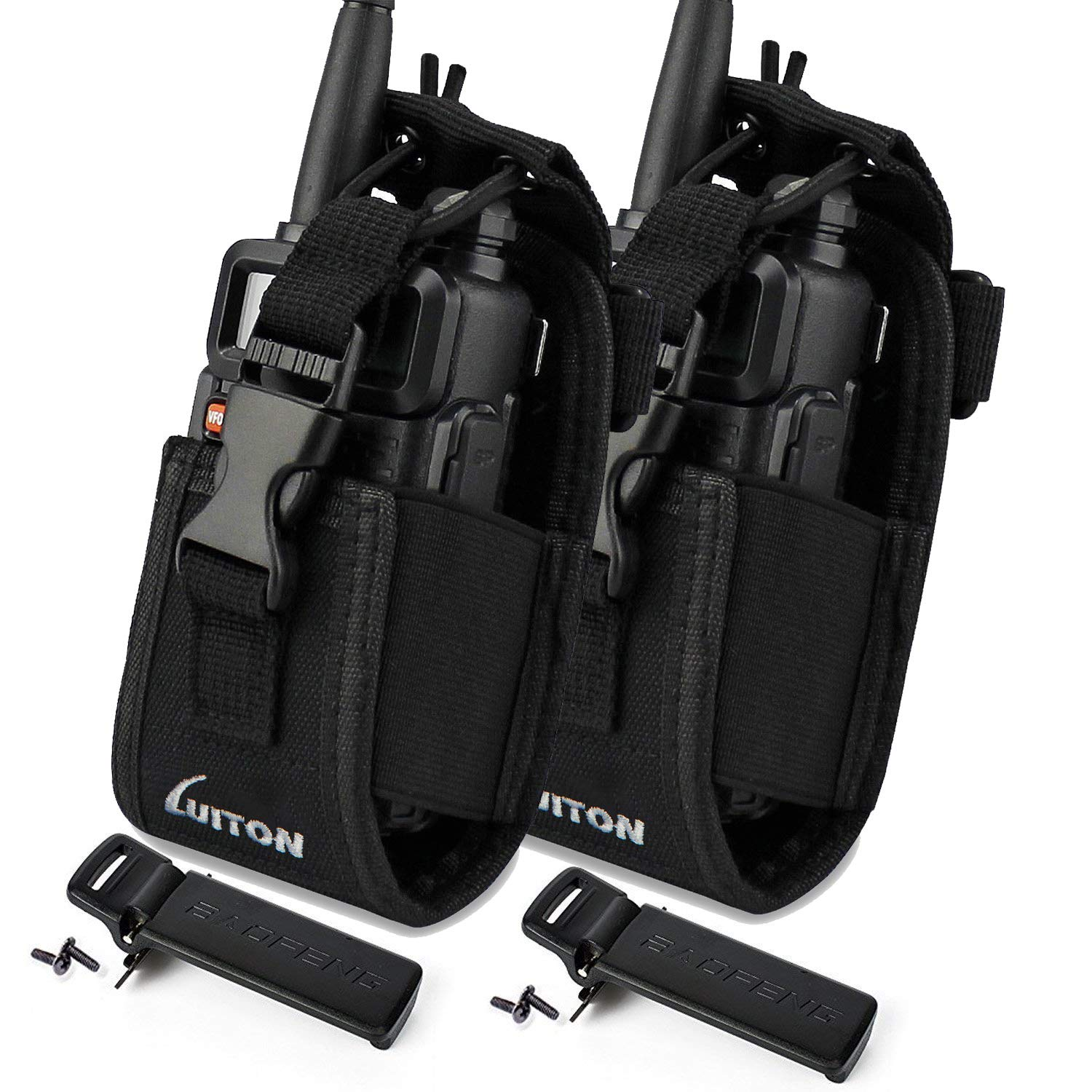 LUITON 3 in1 Multi-Function Radio Holder Holster Case Pouch Bag For GPS Compatible with Motorola baofeng UV5R UV82 UV5RA 888S Retevis H777 F8HP Two Way Radio Walkie Talkies (2Packs) with 2 UV-5R Clips |
