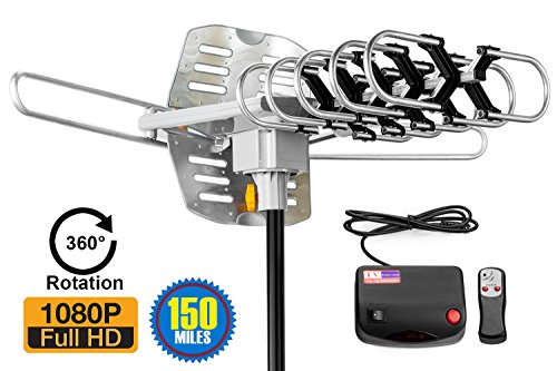 ViewTV 2018 VERSION Outdoor Amplified Digital HDTV Antenna - 150 Mile Range - Motorized 360° Rotation - 40FT Coax Cable - Wireless Remote Control - UHF/VHF 4K 1080P Channels |