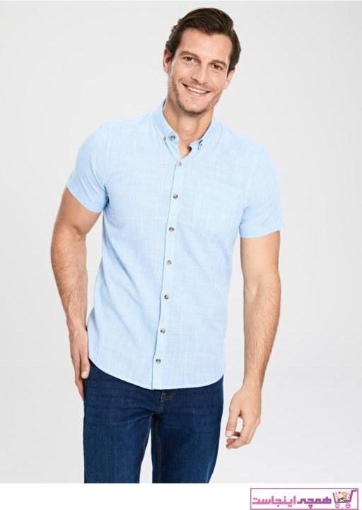 تصویر پیراهن کلاسیک پاییزی مردانه برند ال سی وایکیکی ترک رنگ آبی کد ty33562767