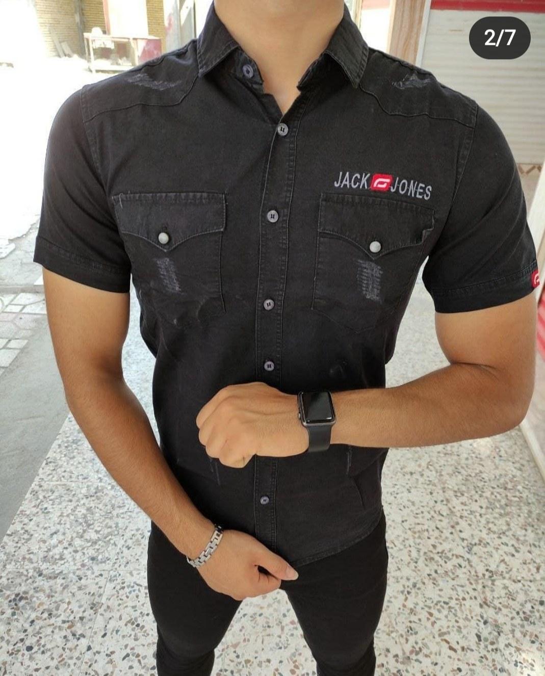 تصویر پیراهن آستین کوتاه جین زغالی دو جیب - XL
