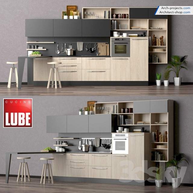 تصویر پک مدل سه بعدی کابینت و لوازم آشپزخانه