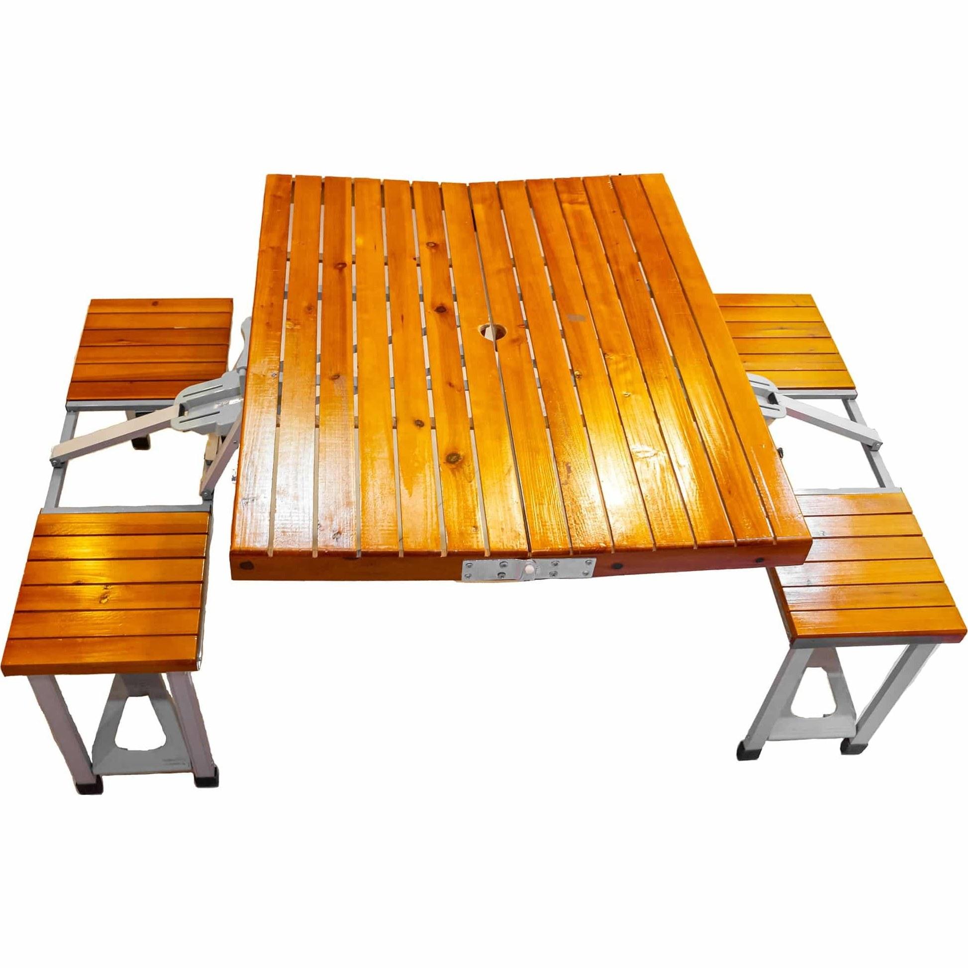 تصویر میز و صندلی سفری چهار نفره تمام چوب
