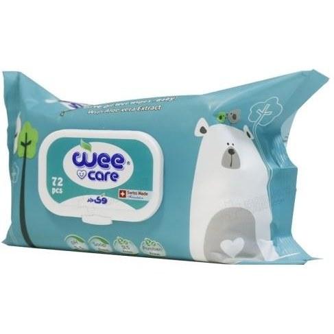تصویر دستمال مرطوب وی کر حاوی روغن زیتون و عصاره آلوئه ورا 72 برگی Wee Care Wipes containing olive oil and aloe vera extract 72Pcs