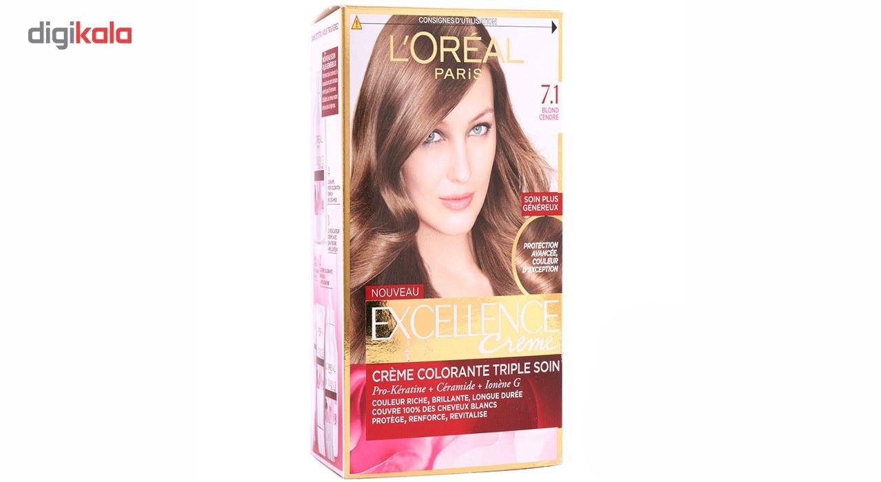 img کیت رنگ مو لورآل مدل Excellence شماره 7.1 LOreal Excellence Hair Color Kit No 7.1