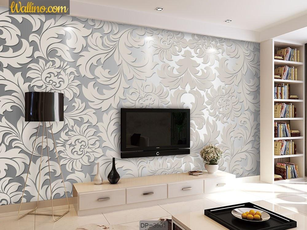 کاغذ دیواری پشت تلویزیون طرح گلدار نقره ای DP-3901