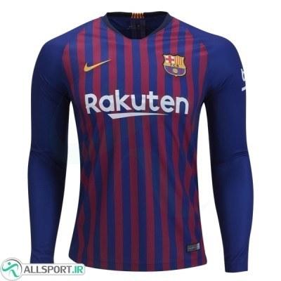 پیراهن اول بارسلونا آستین دار Barcelona 2018-19 Home Soccer Jersey Long Sleeve