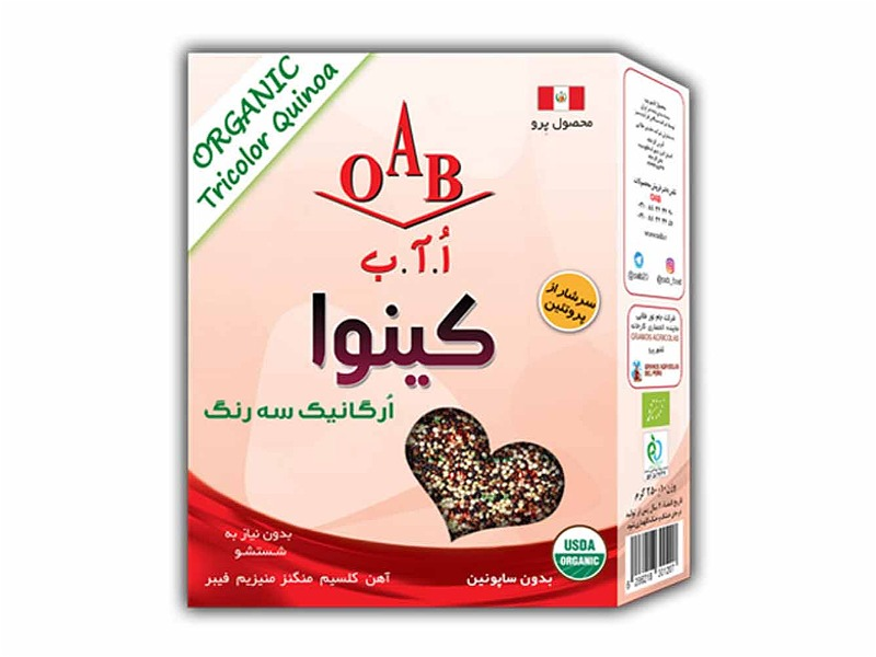 کینوا ارگانیک سه رنگ ۲۵۰ گرمی OAB