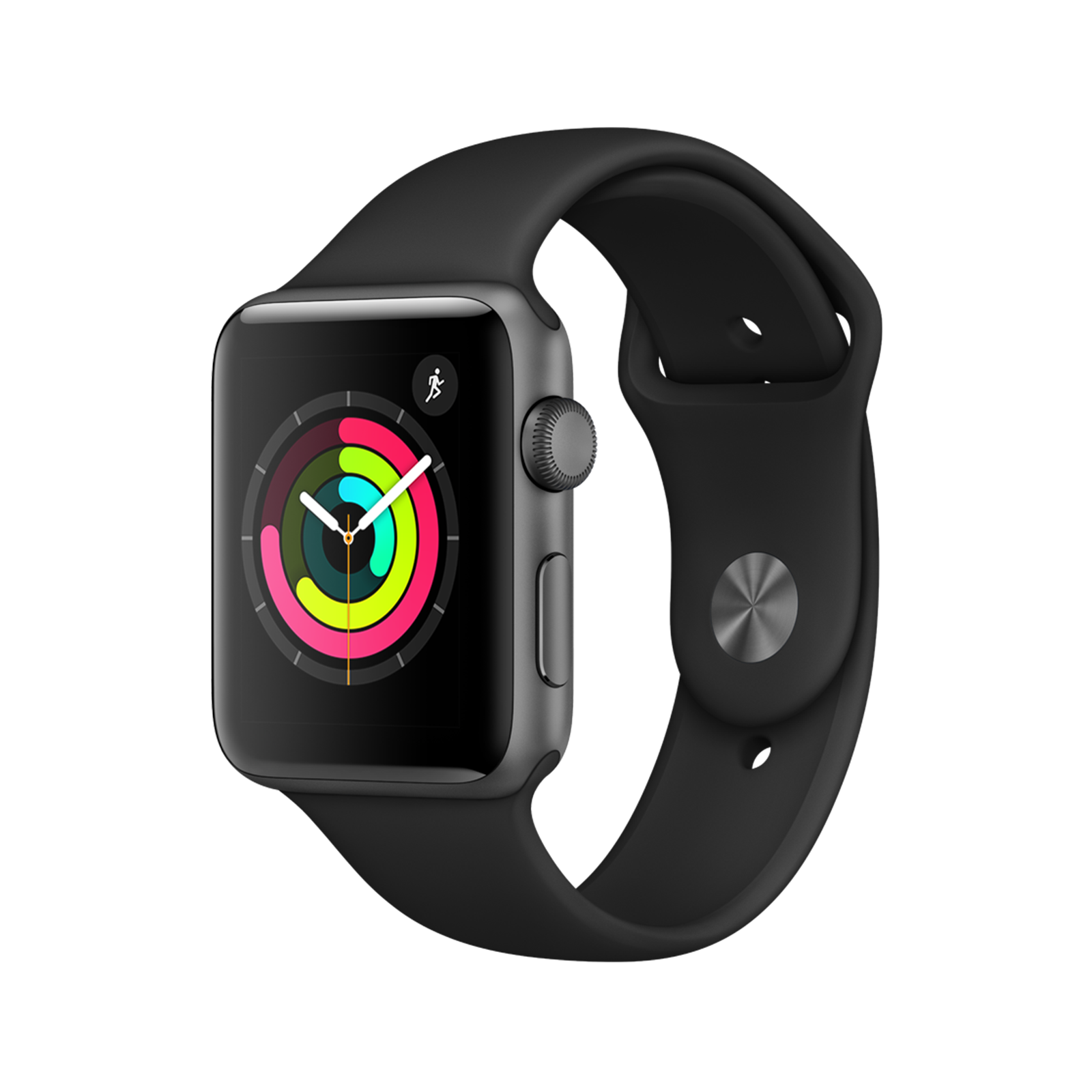 Apple Watch Series 3 GPS 42mm Space Gray Aluminum Case with Black Sport Band | ساعت هوشمند اپل واچ 3 مدل 42mm Space Gray Aluminum Case with Black Sport Band