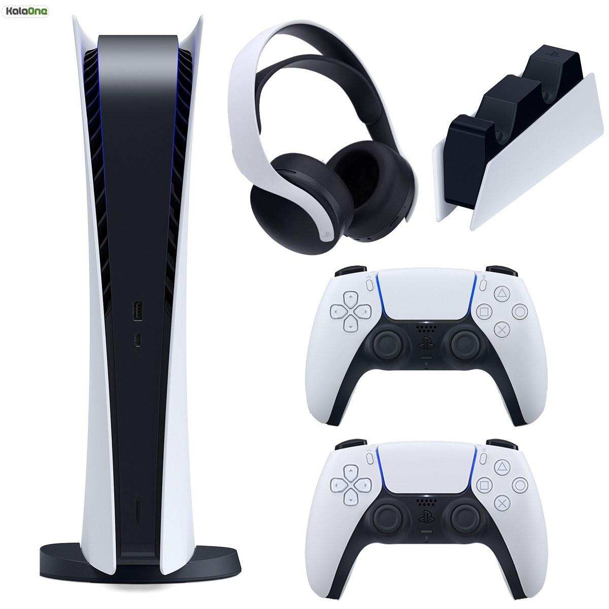 تصویر مجموعه کنسول بازی سونی مدل PlayStation 5 Digital ظرفیت 825 گیگابایت به همراه هدست و پایه شارژر