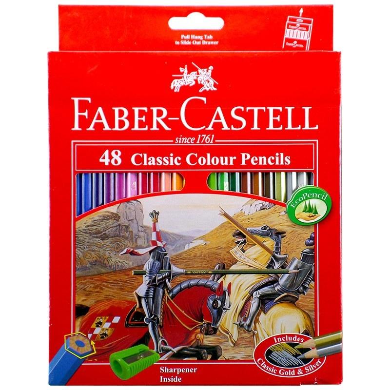 تصویر مداد رنگی کلاسیک ۴۸ رنگ جعبه مقوایی فابرکاستل