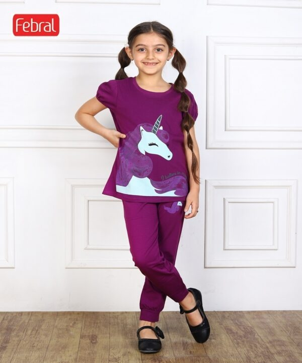 main images ست تی شرت و شلوار دخترانه مادر مدل اشلی – بنفش