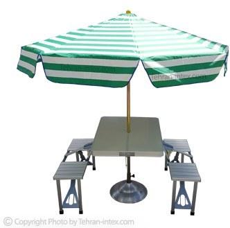 میز و صندلی تاشو به همراه چتر