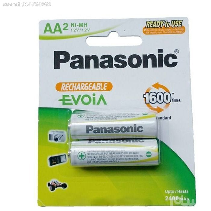 باتری قلمی شارژی پاناسونیک مدل بسته دو عددی   مدل HHR-3MRT/2BM 2400mAh-قابلیت 1600 بار شارژ