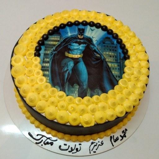 کیک تولد بتمن طرح چاپ خوراکی |