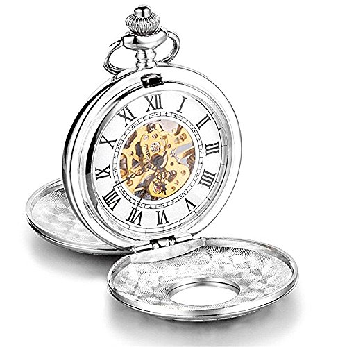 LOCHING Luxury Retro Mechanical Pocket Watch Hollow Skeleton Unisex Silver Case Pendant with Chain Gift