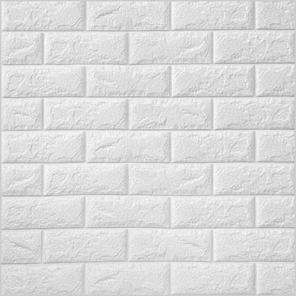 تصویر دیوارپوش فومی پشت چسبدار آجر سفید چینی کد110