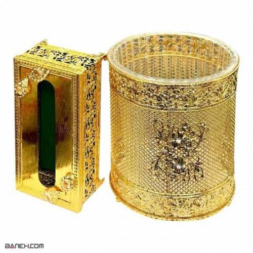 تصویر ست سطل و جا دستمال کاغذی آبکاری طلا F0069 F0069 Waste Bin And Tissue Box Set