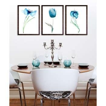 تابلو 3 تکه طرح گل شقایق آبی کد AX14185 |