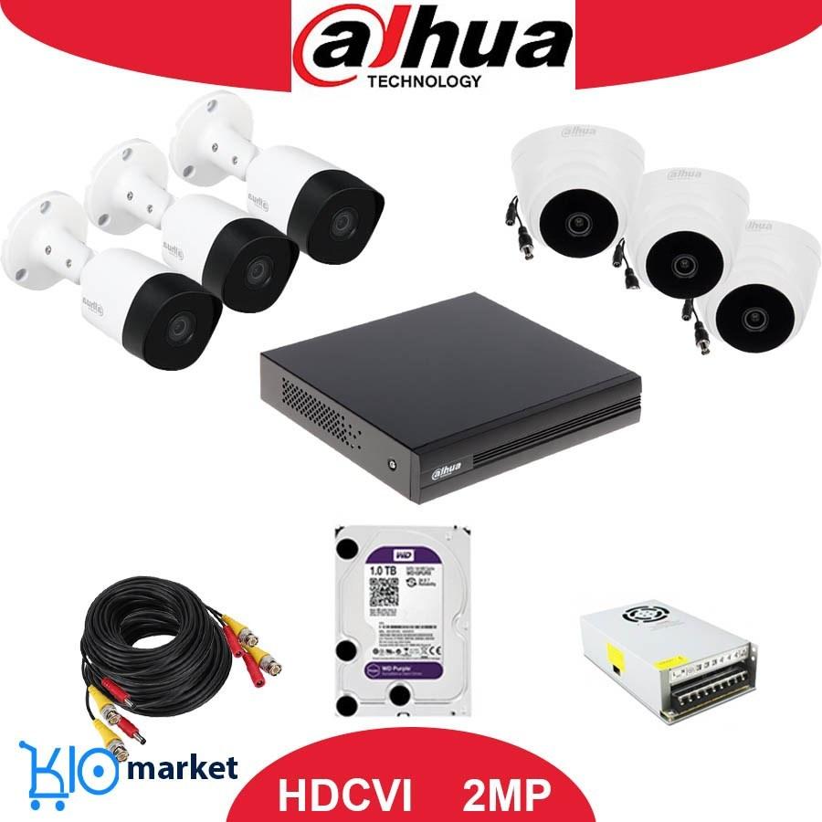 پکیج های کامل ۵ ، ۶ ، ۷ و ۸ تایی دوربین مداربسته  ۲ مگاپیکسل HDCVI داهوا