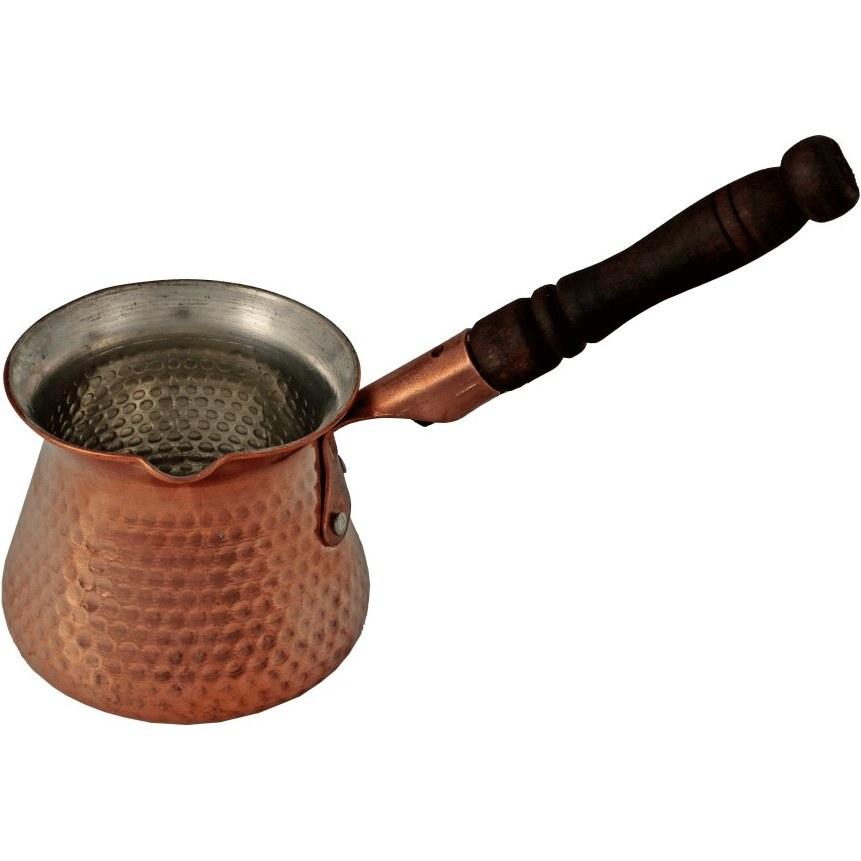 تصویر قهوهجوش مسی دسته چوبی