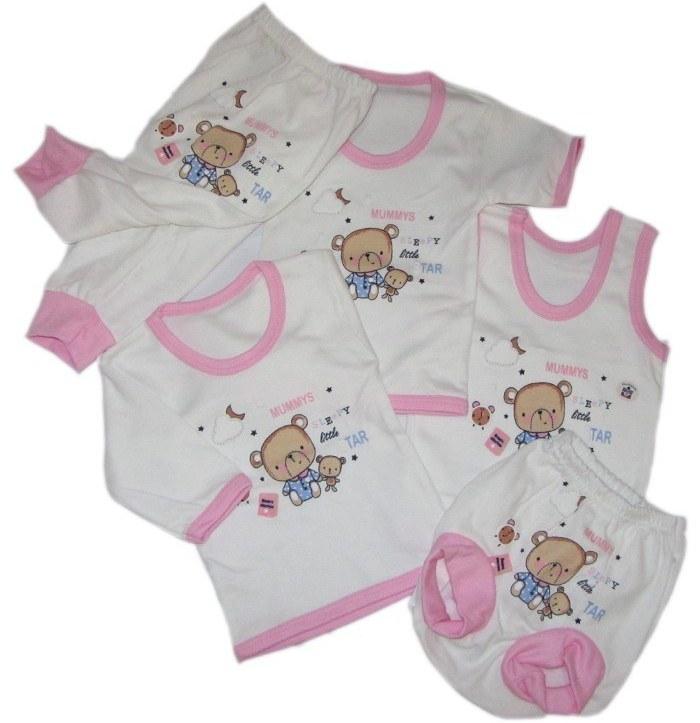 تصویر ست 5 تکه لباس نوزادی بالوشک طرح خرس
