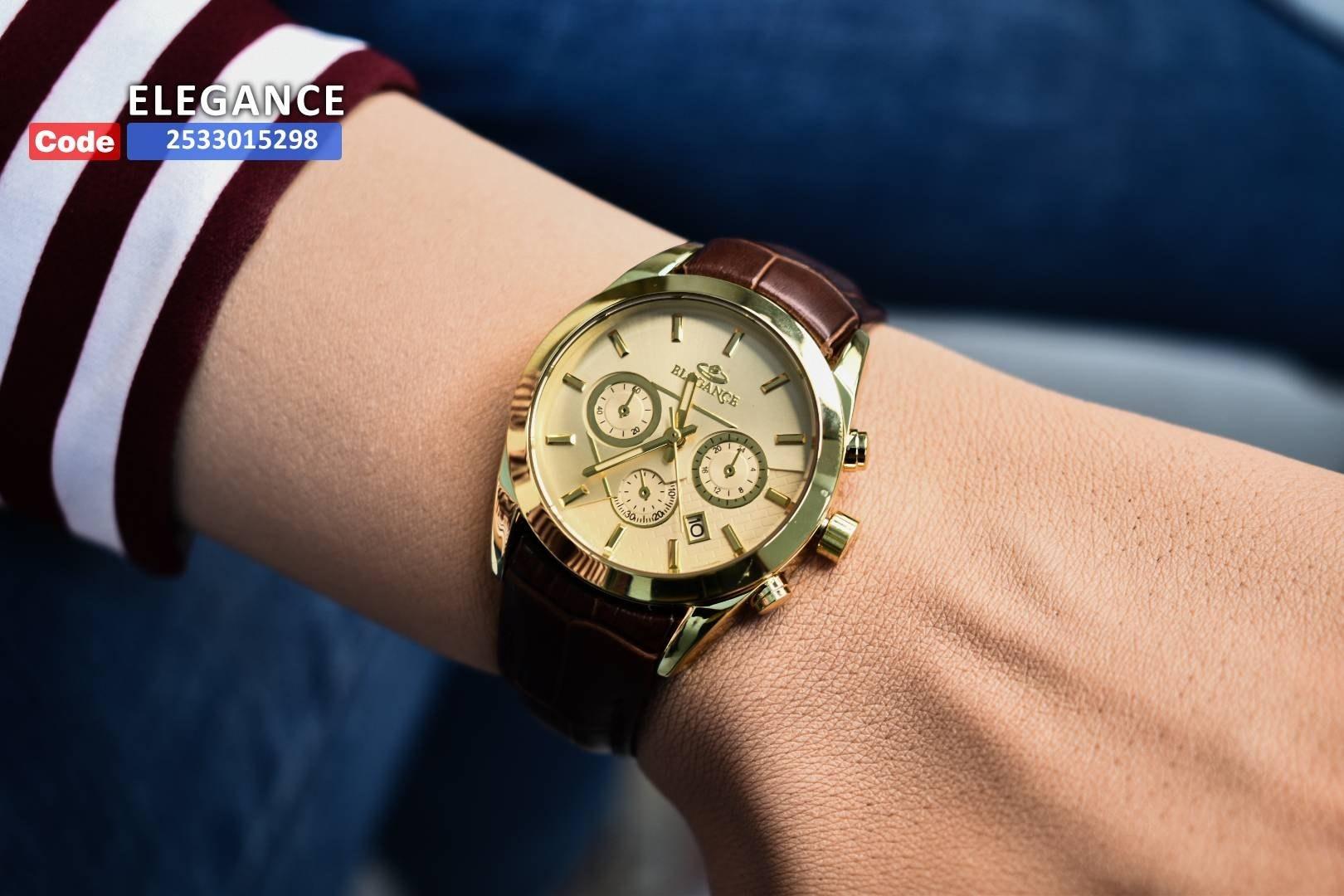 تصویر ساعت بند چرمی الگانس