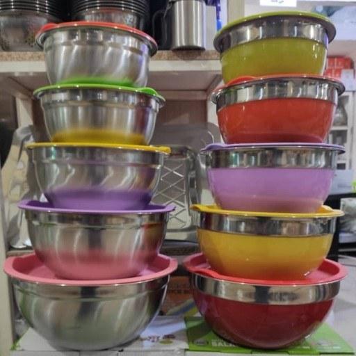 تصویر سرویس 5 تکه کاسه استیل رنگی درب دار
