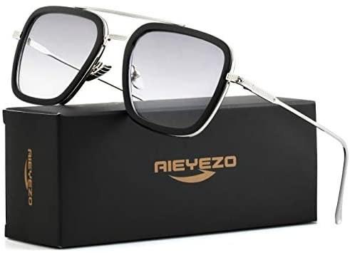 عینک آفتابی شخصیت تونی استارک Tony Stark Sunglasses AIEYEZO - دارای لنز های رنگی با فریم فلزی و فوق العاده سبک