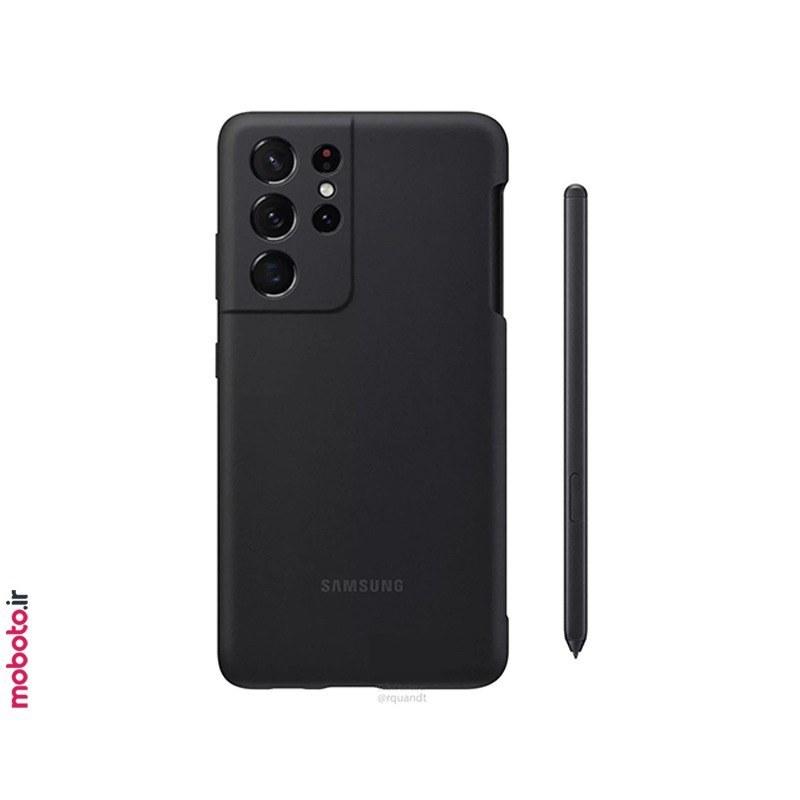 تصویر کاور سیلیکونی سامسونگ بههمراه قلم S Pen مناسب گلکسی S21 Ultra 5G