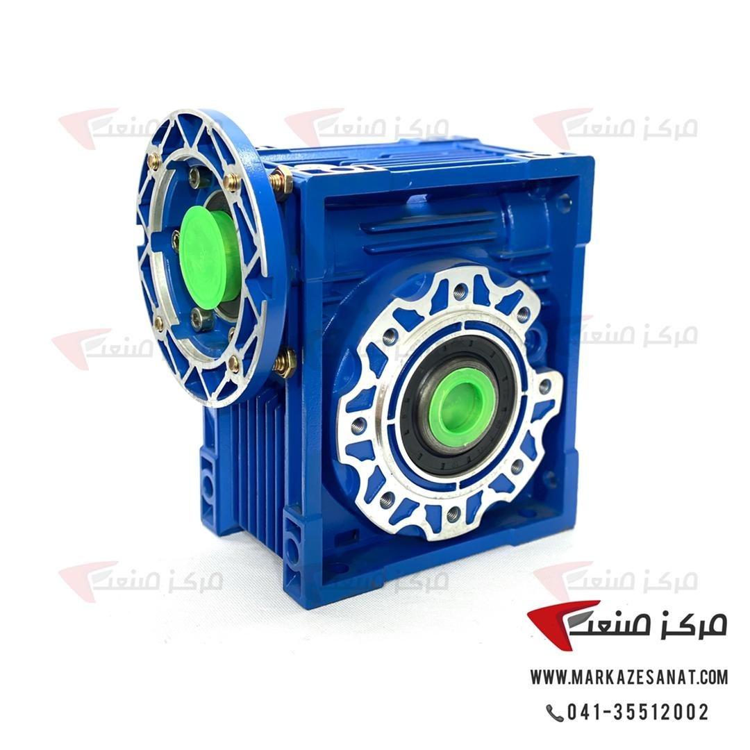 تصویر گیربکس حلزونی 90 نسبت 1:80 چینی برای الکتروموتور 1.5 کیلووات