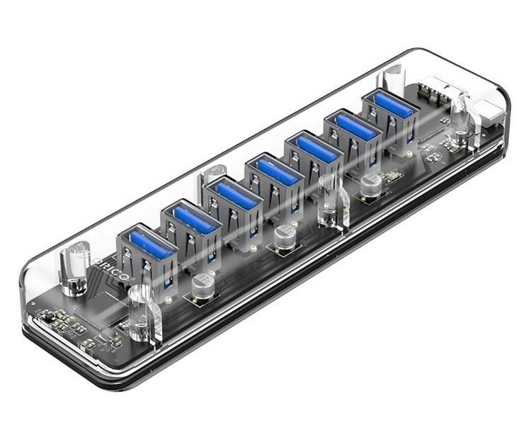 هاب هفت پورت یو اس بی شفاف رومیزی اریکو مدل F۷U-U۳ | ORICO F7U-U3 7Port USB3.0 Transparent Clear HUB