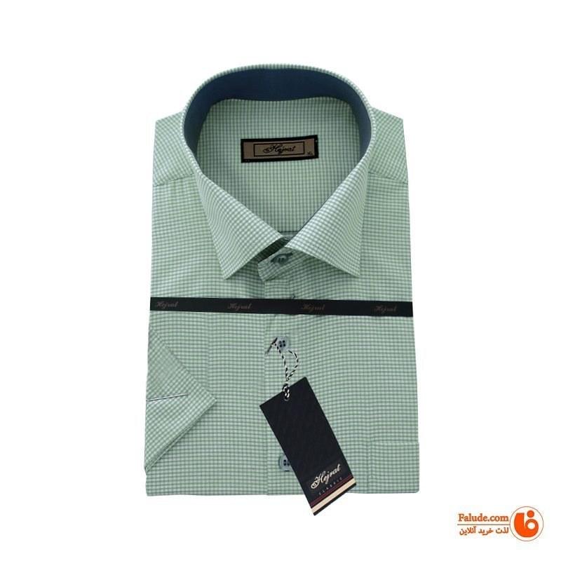 پیراهن چهارخانه تترون مردانه آستین کوتاه هجرت رنگ سبز  