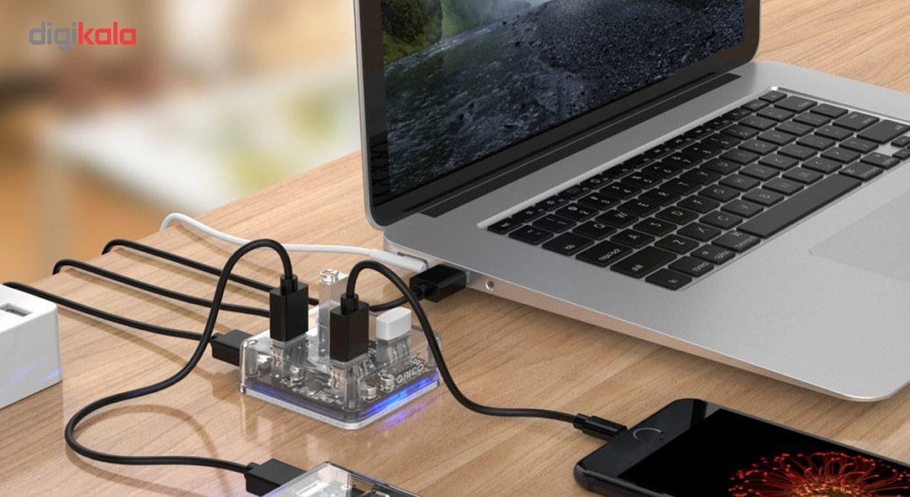 img هاب USB 3.0 چهار پورت اوریکو مدل MH4U-U3 Orico MH4U-U3 Four Port USB 3.0 Hub