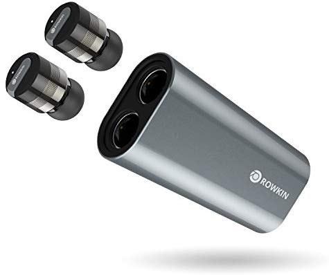 تصویر شارژر Rowkin Bit Stereo: True Wireless Earbuds w / Charging Case. هدست بلوتوث کوچکترین هدست بی سیم بدون سیم بی سیم هدست w / میکروفن و کاهش نویز برای آندروید و آیفون (فضای خاکستری)
