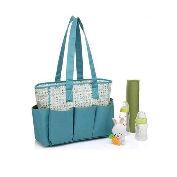 عکس ساک لوازم ۲تکه برند کالرلند رنگ سبز با طرح دایره | Colorland Diaper Bag  ساک-لوازم-2تکه-برند-کالرلند-رنگ-سبز-با-طرح-دایره-colorland-diaper-bag