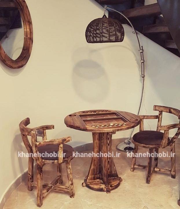 میز و صندلی تخته نرد و شطرنج صندلی مدل لهستانی دسته دار