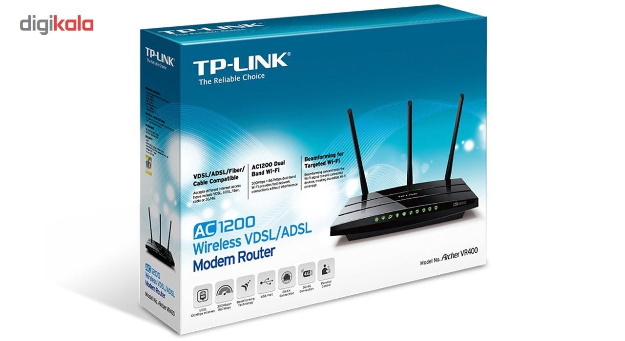 img مودم روتر VDSL/ADSL بيسيم تی پی لینک مدل آرچر وی آر ۴۰۰ TP-LINK Archer VR400 AC1200 Wireless Gigabit VDSL/ADSL2+ Modem Router